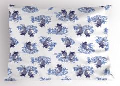 Lacivert Balık Desenli Yastık Kılıfı Şık Tasarım Beyaz