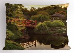 Japon Bahçesinde Gün Batımı Yastık Kılıfı Göl