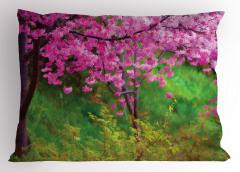 Baharda Japon Çiçekleri Yastık Kılıfı Bahar Bahçesi