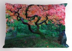 Kızıl Yapraklı Ağaç Desenli Yastık Kılıfı Pembe Yapraklar Yeşillik