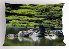 Yaz Mevsiminde Göl Manzarası Yastık Kılıfı Doğada Yaz Mevsimi Temalı