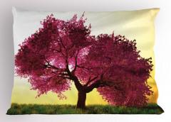 Dekoratif Ağaç Desenli Yastık Kılıfı Sarı Fonlu Doğa