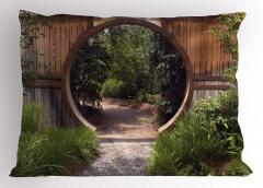 Ağaçlı Yol Yastık Kılıfı Kahverengi Ahşap Kapı
