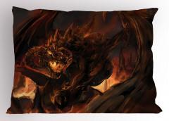Kahverengi Ejderha Yastık Kılıfı Fantastik Dekoratif