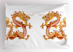 İkiz Ejderha Desenli Yastık Kılıfı Uzak Doğu Sarı