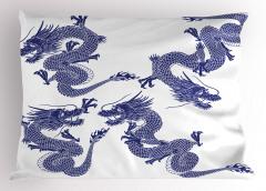 Japon Ejderhaları Yastık Kılıfı Uzak Doğu Sanatı