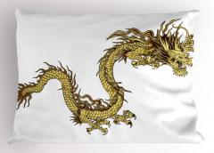 Altın Ejderhalı Yastık Kılıfı Mitolojik Simge