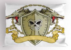 Ejderhalı Savaş Kalkanı Yastık Kılıfı Orta Çağ Savaşı Şövalye