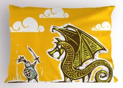 Şövalye ve Ejderha Desenli Yastık Kılıfı Şövalye Ejderhaya Karşı