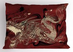 Kükreyen Ejderha Desenli Yastık Kılıfı Japon Mitolojisi