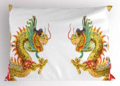 İkili Çin Ejderhaları Desenli Yastık Kılıfı Uzak Doğu Efsanesi