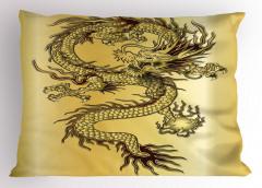 Altın Ejderha ve Güç Topu Yastık Kılıfı Ejderha Fantastik Mitolojik