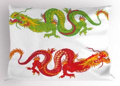 Kırmızı Yeşil Ejderha Yastık Kılıfı Beyaz Fonlu