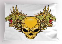 Sarı Kuru Kafa Yastık Kılıfı Yeşil Ejderha Dekoratif