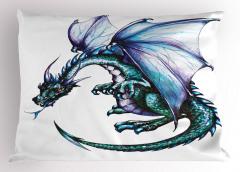 Kanatlı Ejderha Yastık Kılıfı Yeşil Mavi Fantastik