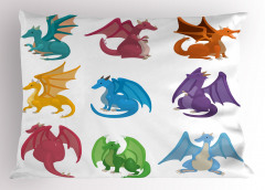 Rengarenk Ejderhalar Yastık Kılıfı Beyaz Fantastik