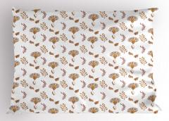 Dekoratif Yapraklı Yastık Kılıfı Kahverengi Sarı