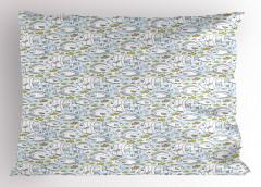 Sarı Siyah Balıklar Yastık Kılıfı Dekoratif Mavi