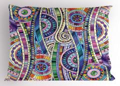 Mor Karışık Desenli Yastık Kılıfı Çiçek Dekoratif