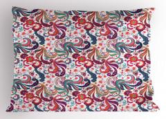 Şık Çiçek Motifli Yastık Kılıfı Rengarenk Dekoratif