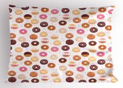 Donut Desenli Yastık Kılıfı Donut ve Minik Kalp Desenli