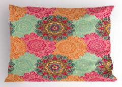 Renkli Mandala Desenli Yastık Kılıfı Hint Süslemeleri