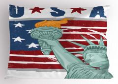 Özgürlük Anıtı Desenli Yastık Kılıfı ABD Bayrağı Şık