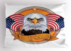 Amerikan Kartalı Yastık Kılıfı ABD Bayrağı Şık