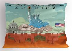 ABD Sembolleri Yastık Kılıfı Turuncu Turkuaz