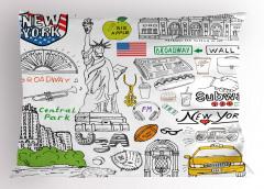 New York Sembolleri Yastık Kılıfı ABD Dekoratif