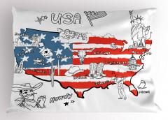 ABD Haritası Desenli Yastık Kılıfı Kırmızı Mavi