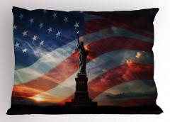 Özgürlük Anıtı ve Güneş Yastık Kılıfı ABD Bayrağı