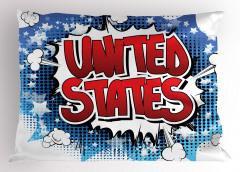 ABD Yazılı Grafiti Yastık Kılıfı Kırmızı Mavi Sanat