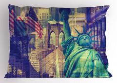 New York Gökdelenleri Yastık Kılıfı Özgürlük Anıtı ABD