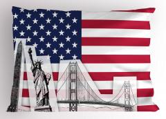 ABD Bayrağı Desenli Yastık Kılıfı Özgürlük Anıtı