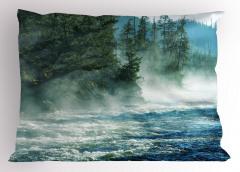 Vahşi Doğa Yastık Kılıfı Nehir Ağaçlar Orman