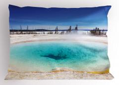 Gölet Manzaralı Yastık Kılıfı Gölet Orman Kış Beyaz