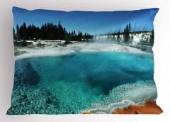 Doğada Kış Zamanı Yastık Kılıfı Gölet Orman