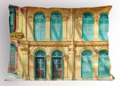 Yeşil Pencereli Ev Yastık Kılıfı Şık Mimari Nostaljik