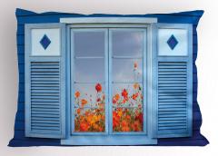 Çiçekli Mavi Pencere Yastık Kılıfı Ahşap Dekoratif