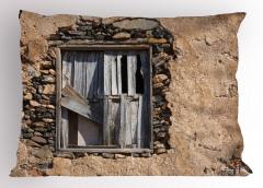 Gri Ahşap Pencere Yastık Kılıfı Nostaljik Mimari