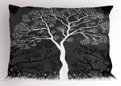 Sanatsal Ağaç Desenli Yastık Kılıfı Ağaç İlkbahar Modern Sanatsal Siyah