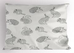 Tavşan Sincap ve Kirpi Yastık Kılıfı Tavşan Sincap ve Kirpi