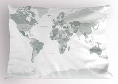 Dünya Haritası Yastık Kılıfı Dünya Haritası Temalı Kıta Okyanus