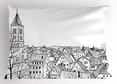 Çatı Katı Yastık Kılıfı Avrupa Şehri Deseni