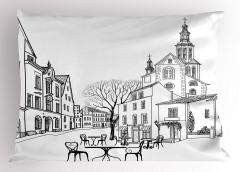 Eski Şehir Manzarası Yastık Kılıfı Sonbahar