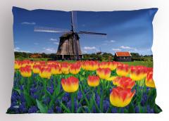 Lale Bahçesi Desenli Yastık Kılıfı Hollanda Değirmeni