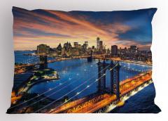 New York'ta Gün Doğumu Yastık Kılıfı Nehir