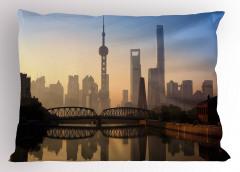 Şangay'da Gün Doğumu Yastık Kılıfı Puslu Hava Gri