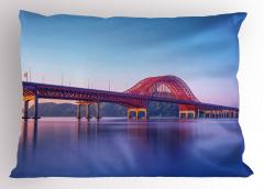Kırmızı Köprü Yastık Kılıfı Nehir Doğa Mavi